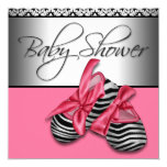 Sweet Pink and Black Baby Shower Custom Announcement