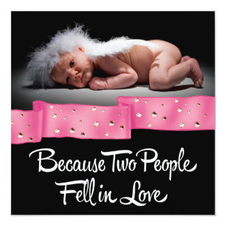 Sweet Pink and Black Photo Birth Announcement