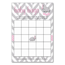 Sweet Pink and Gray Elephant Baby Shower Bingo Card