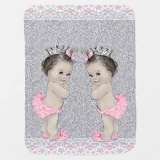 Sweet Pink and Gray Twin Girl Baby Stroller Blanket