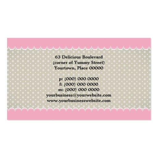 Sweet Pink and Polka Dots Business Card Template (back side)