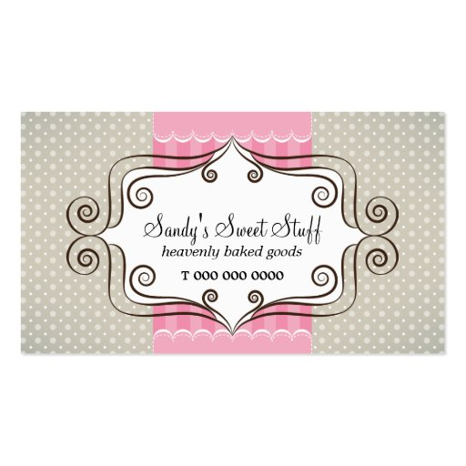 Sweet Pink and Polka Dots Business Card Template (front side)