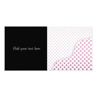 Sweet Pink and White Polka Dot Pattern Design Photo Greeting Card