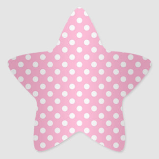 Sweet Pink and White Polka Dots Star Sticker