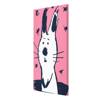 Sweet Pink and White Rabbit Canvas Print