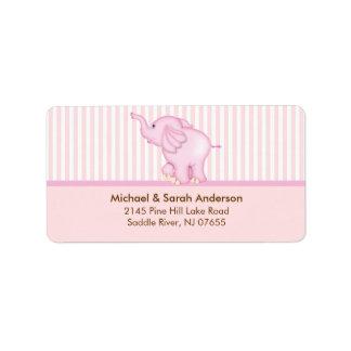 Sweet Pink Baby Elephant Address Label