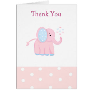 Sweet Pink Baby Elephant Thank You Greeting Card
