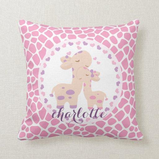 Sweet Pink Baby Girl Giraffe Personalized Throw Pillow ...