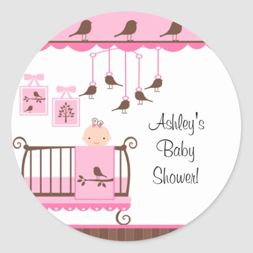 Sweet Pink Baby Room You're Invited Sticker