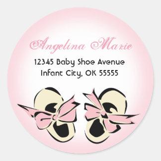 Sweet Pink Baby Shoe Address Label Classic Round Sticker