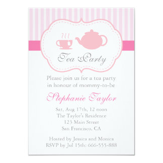 Sweet Pink Baby Shower, Tea Party for Mom to Be Card