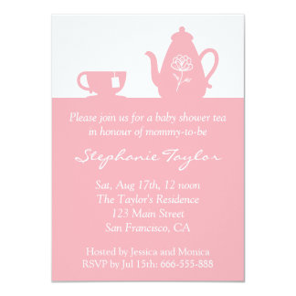 Sweet Pink Baby Shower, Tea Party for Mom to Be 4.5x6.25 Paper Invitation Card