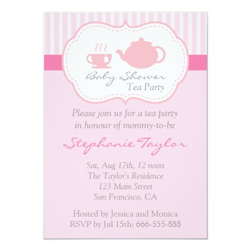 Sweet Pink Baby Shower, Tea Party for Mom to Be 4.5x6.25 Paper ...