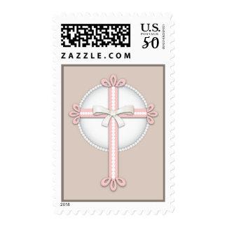 Sweet Pink | Beige Religious Celebration Cross Postage