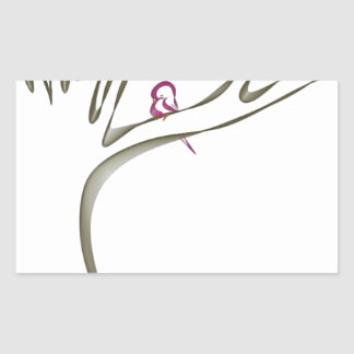 Sweet pink bird sitting in a tree original rectangular sticker