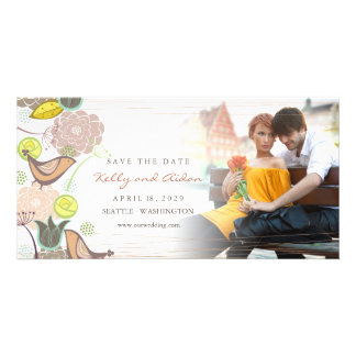 Sweet Pink Birds Floral Garden Photo Save The Date Card