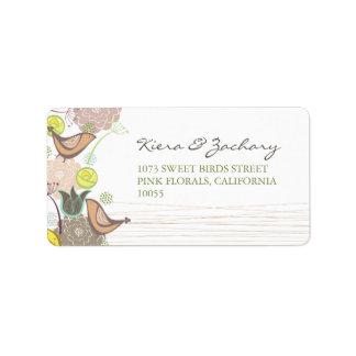Sweet Pink Birds Floral Garden Spring Wedding Custom Address Label