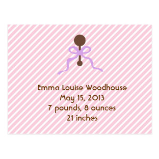 Sweet Pink Birth Announcement Post Cards