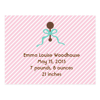 Sweet Pink Birth Announcement Postcard