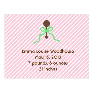 Sweet Pink Birth Announcement Postcard