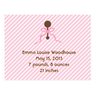 Sweet Pink Birth Announcement Postcards