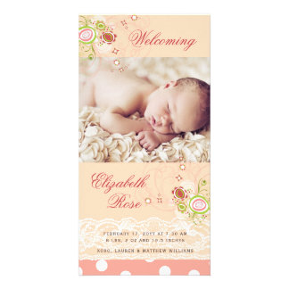Sweet Pink Blooms Baby Girl Birth Announcement