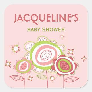 Sweet Pink Blooms Flowers Baby Shower Sticker