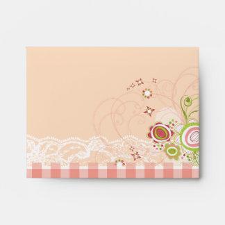 Sweet Pink Blooms Scrapbook Lace Custom Envelope