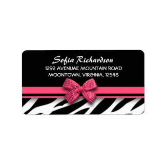 sweet pink bow zebra elegant address labels
