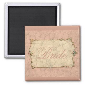 Sweet Pink Bridal Design 2 Inch Square Magnet
