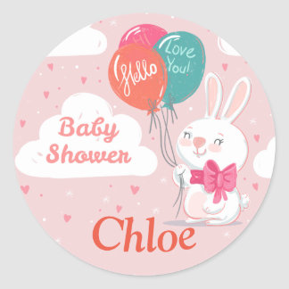 Sweet pink bunny balloons baby shower invitation classic round sticker