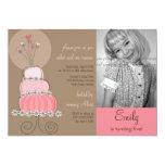 "Sweet Pink Cake Girl Birthday Party Photo Invitati 5"" X 7"" Invitation Card"