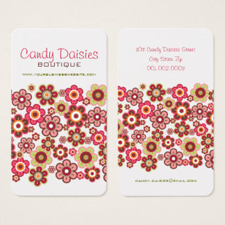 Sweet Pink Candy Daisies Flowers Business Cards