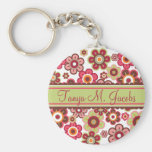 Sweet Pink Candy Daisies Flowers Girly Pattern Fun Key Chain