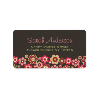 Sweet Pink Candy Daisies Flowers Girly Pattern Fun Label