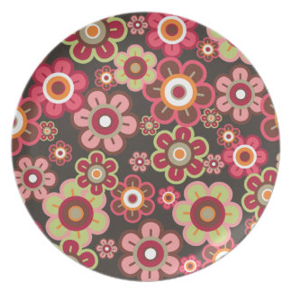 Sweet Pink Candy Daisies Flowers Girly Pattern Fun Plate