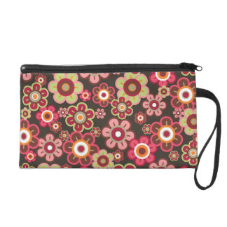 Sweet Pink Candy Daisies Flowers Girly Pattern Fun Wristlet Purse