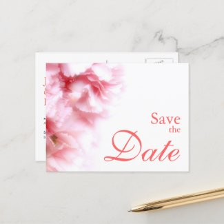 Sweet Pink Carnations Save the Date Announcement
