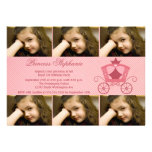 Sweet pink carriage 6 photo birthday party invite