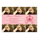"""Sweet pink carriage 6 photo birthday party invite 5"""" x 7"""" invitation card"""