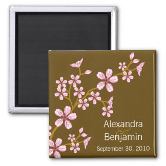 Sweet Pink Cherry Blossom Wedding Magnet Favor