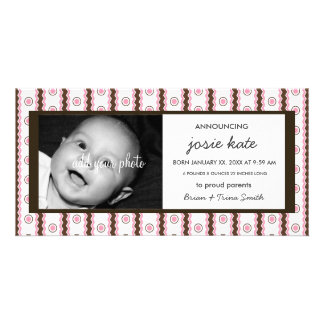 Sweet Pink & Chocolate Stripes Birth Announcement Photo Card