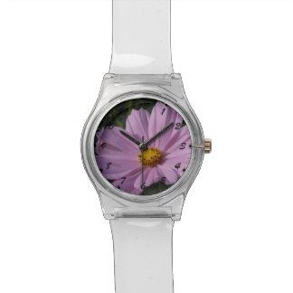 Sweet Pink Cosmocosmos,cosmo,bee,botanical,nature, Wristwatches