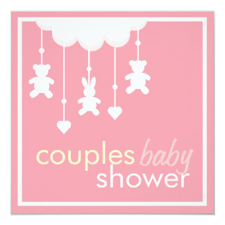 Sweet Pink  Couples Baby Shower Invitation