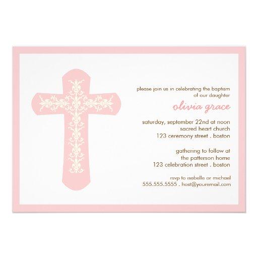 "Sweet Pink Cross Baptism Christening Invitation 5"" X 7 ..."