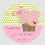 Sweet Pink Cupcake Butterfly Whimsical Birthday Classic Round Sticker