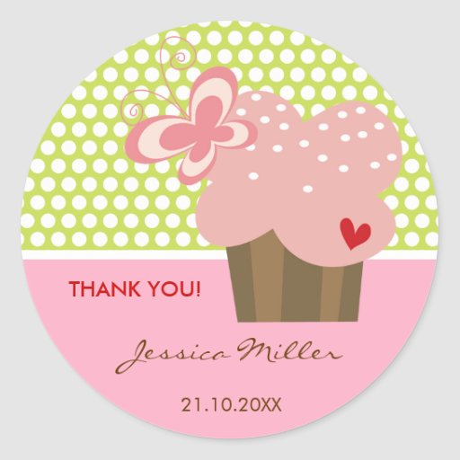 Sweet Pink Cupcake Butterfly Whimsical Birthday Sticker