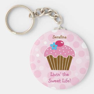 Sweet Pink Cupcake Keychain