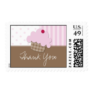 Sweet Pink Cupcake - Thank You Postage Stamps
