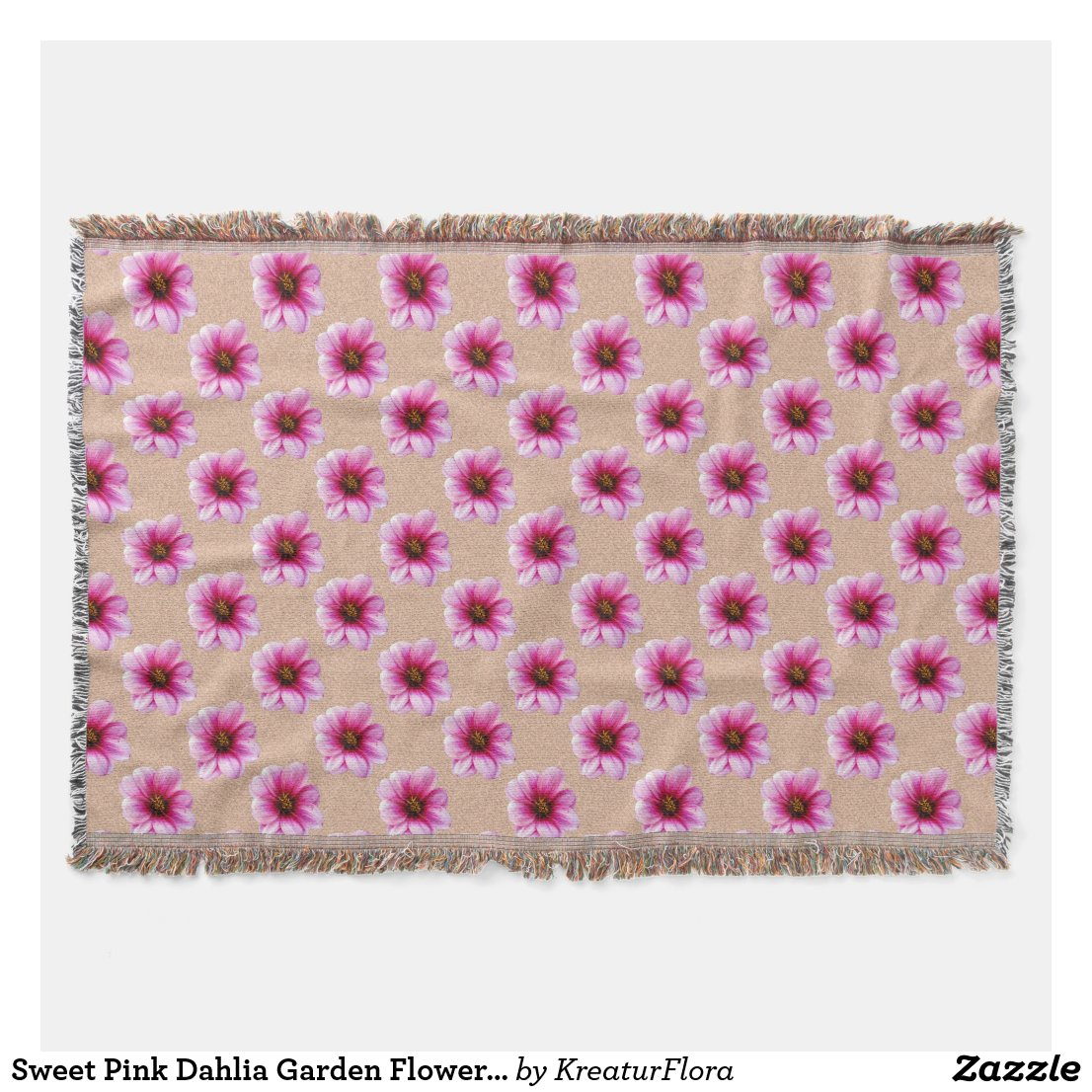 Sweet Pink Dahlia Garden Flowers on Custom Color